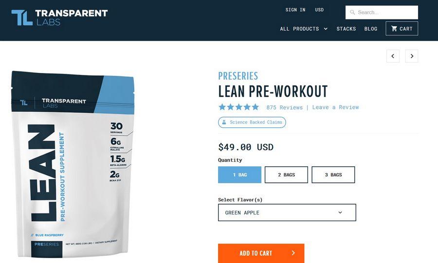 transparent labs lean pre-workout official website